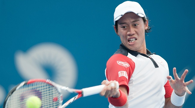 BRISBANE Jan 3 2014 Kei Nishikori of Japan returns the ball during the men s singles semifinal
